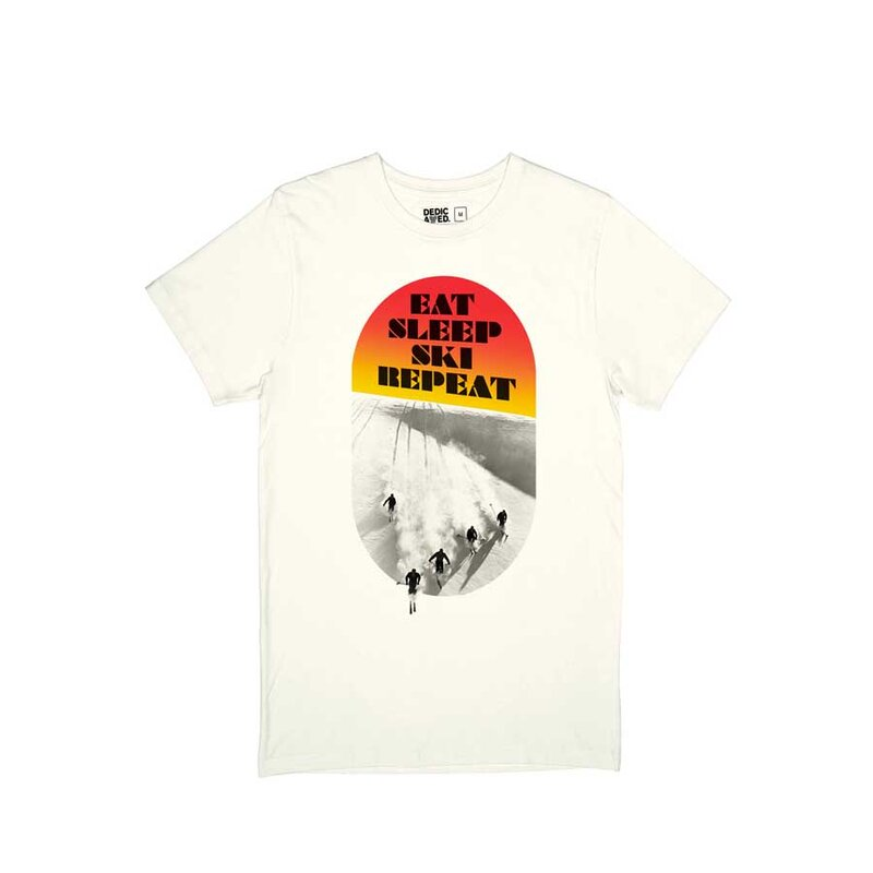 Dedicated Stockholm Eat Sleep Ski Tee Off White
