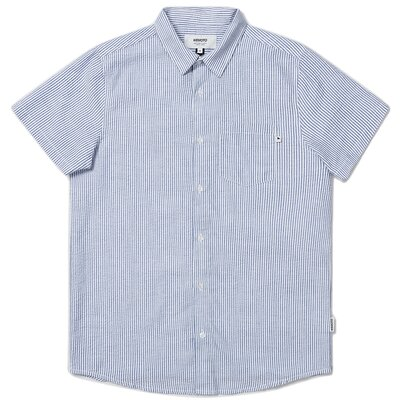 Wemoto Trevor Seersucker Shirt Navy Blue/White